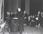Photo of Thomas J. Watson Delivering the 1945 Commencement Address