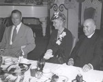 Commencement Luncheon, August 10, 1945, Judge Jeremiah O'Connell, Mrs. Thomas Watson, and Father Galliher