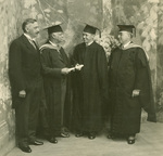 Commencement 1930 - Rhode Island Governor Norman S. Case, United States Vice President Charles Curtis, Wilson V. Gilman (Class of 1930) and Bryant President  Harry L. Jacobs